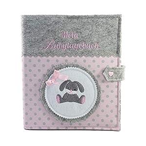 Babytagebuch, Babyalbum DIN A5, mit süssem Häschen, Geschenk zur Geburt, Baby, Babys erstes Jahr festhalten, Erinnerungsalbum