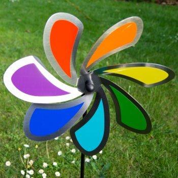 Blume 28 Solid Rainbow - extrem wetterfest - Windrad: Ø28cm - inkl. 72cm Standstab und Bodendübel (Solid Rainbow) (Regenbogen-windrad)