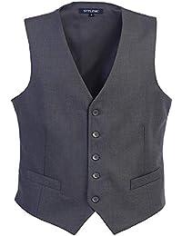 STTLZMC Gilet Costume Homme Couleur Unie sans Manches Veste Business Mariage Élégant Taille S-XXXL
