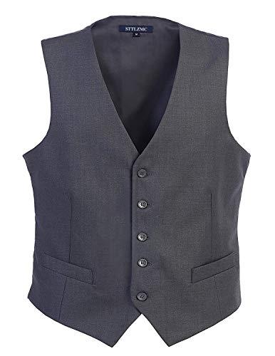 STTLZMC Panciotto Gilet Uomo Slim Fit Casual Moda Smanicato Matrimonio Corpetto Smoking Waistcoat(Niente Camicia),Grigio,Medium