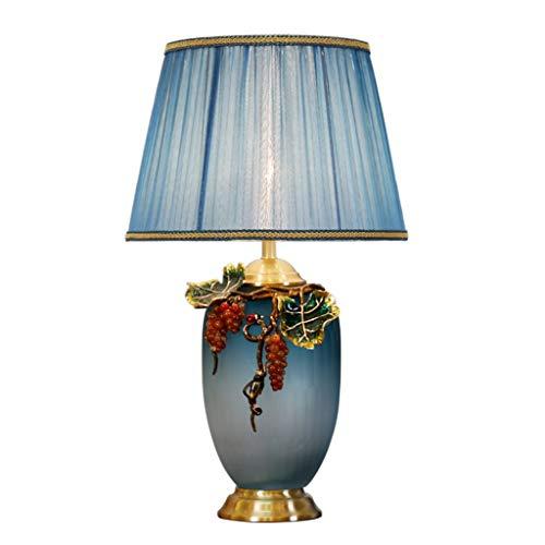 Lampes de table De Style Américain en Cuivre Émaillé Lampe De Chevet Chambre Romantique Salon De Décoration De Table (Color : Blue, Size : 38 * 64cm)