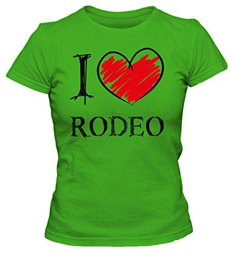 I love Rodeo Fun Damen T-Shirt_grün_XL (Rodeo T-shirts Für Frauen)