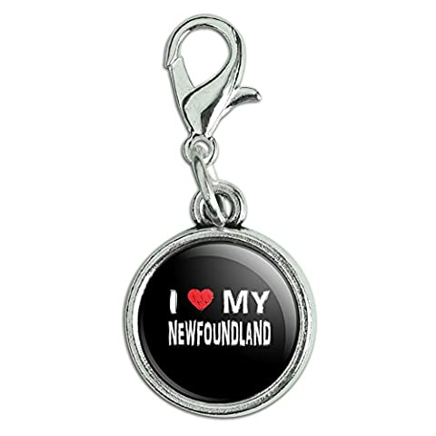 Antik Armband Anhänger Charm Zipper Pull Anhänger mit Karabinerverschluss I Love My Dog k-p Newfoundland