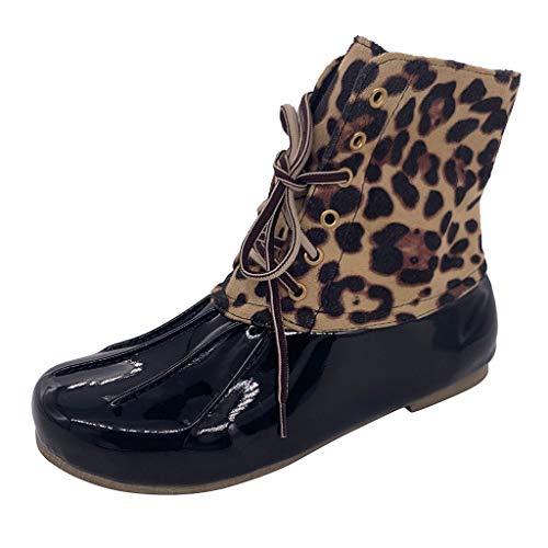 FNKDOR Schuhe Damen Entenstiefel Duck Boots Kurze Leopard Schnürung Blockabsatz Schwarz 39 EU (Stiefel Regen Lila Hunter)