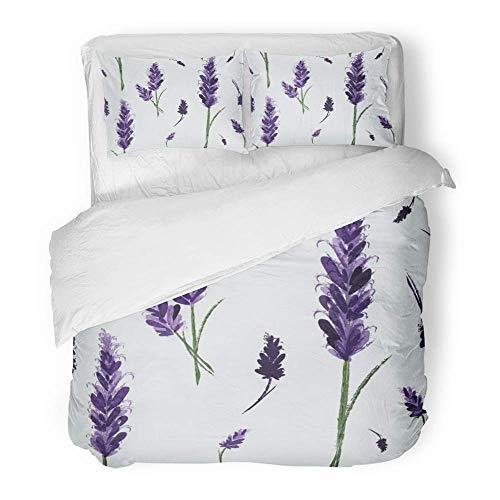 3-teiliges Bettbezug-Set aus gebürstetem Mikrofasergewebe Atmungsaktives blaues Parfüm mit Tinte Lavendel-Vintage-Aquarellmuster mit Blumenhochzeits-Bettwäsche-Set mit 2 Kissenbezügen in Twin Size (Twin Bettwäsche-set Lavendel)