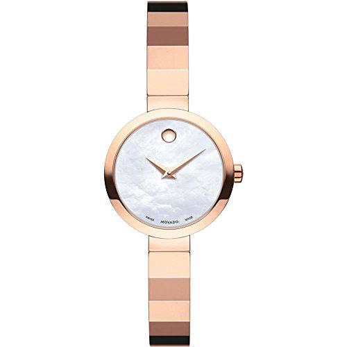 Movado Women's Novella 24mm Rose Gold Plated Bracelet Quartz Watch 607112