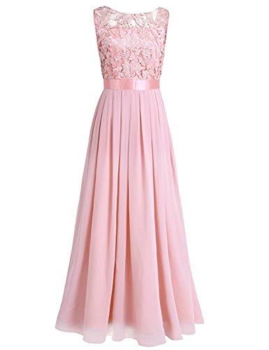 iEFiEL Damen Kleid festlich Hochzeit Brautjungfernkleider Cocktailkleid Chiffon Faltenrock Elegant Langes Abendkleid Partykleid (34...