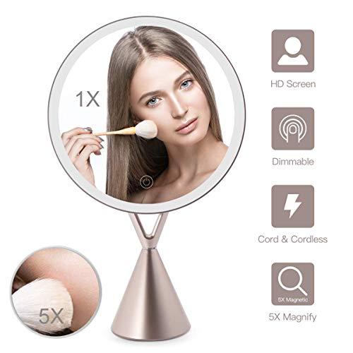 Espejo Maquillaje con Luz 30 Led Iluminacíon Espejo de Mesa Mujeres Regalos Aumentos 1X/ 5X, Brillo...