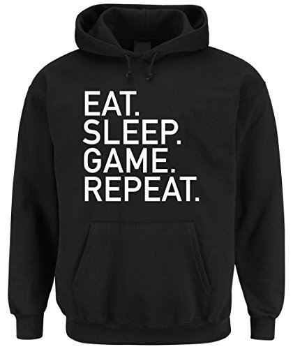 Eat Sleep Game Repeat Hoodie Nero-M