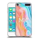 Head Case Designs Personalisierte Individuelle Marmorisierte Flüssigkeit Rosafarbener und Blauer Duogramm Soft Gel Hülle für Apple iPod Touch 6G 6th Gen