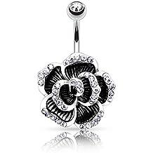 Piercing Ombligo de acero quirúrgico y cristal–flor con 8pétalos en relieve