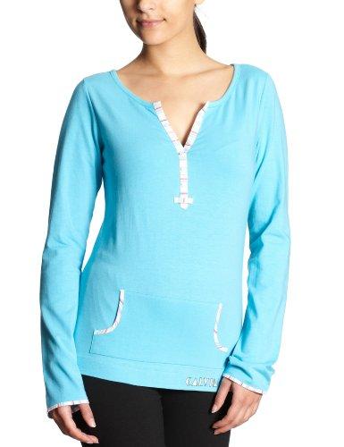 Calvin Klein Underwear Damen Nachtwäsche & Bademantel/Shirt S1530E Knit with Woven L/S PJ Top, Gr. 36 (S), Blau (9MB Mystique Blue) -