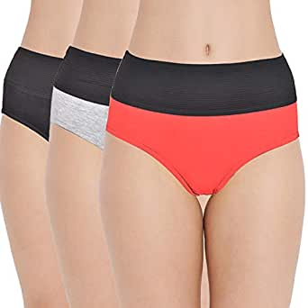 AJ FASHIONS Women's 100% Combed Cotton Multicolor Tummy Controller Printed Panties(Pack of 3)