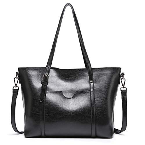 EWBO Damen Handtasche/Schultertasche aus Leder mit Tragegriff, Schwarz (schwarz), Large -