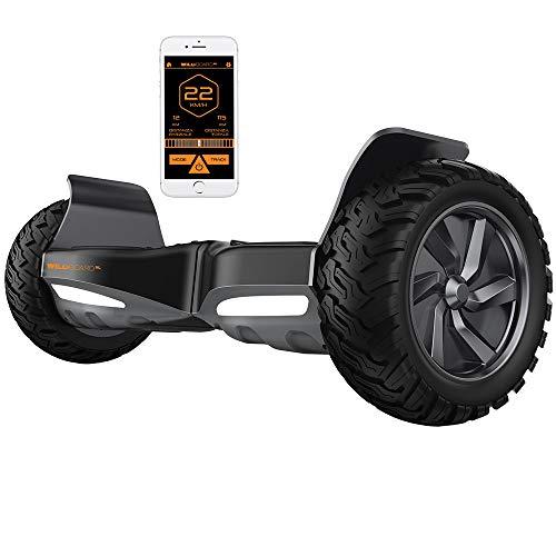 Twodots Wildboard Hoverboard Offroad con ruote da 8.5'', Connessione Bluetooth, velocità massima 15km/h, Nero