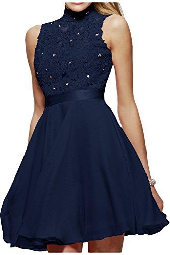 Damen Kleid Navy Schuhe Blau (Milano Bride Damen Liebling Stehkragen Spitze Promkleider Abendkleider Heimkehr Kleider Chiffon A-Linie Kurz Ballkleider-34-Navy Blau)