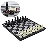 Schachspiel Kunststoff Magnetisch Pädagogische Schachbrett für Kinder, Schwarz und weiß