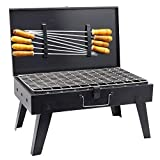 H Hy-tec (Device) Briefcase and Picnic Metal Barbeque with 8 Skewers, 1 Iron