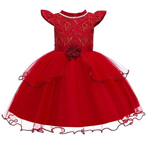 Kleider für Baby-Mädchen Kinder Kleinkind Spitzen Maschen Prinzessin Kleid Perlen Blumen Partykleider Cocktailkleider Fliegender Ärmel Rockabilly Abendkleid Ballkleid Outfits ( Rot, 150)