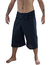 Siam secretos 100% algodón de rayas 3/4Capri Thai Pescador pantalones Plus