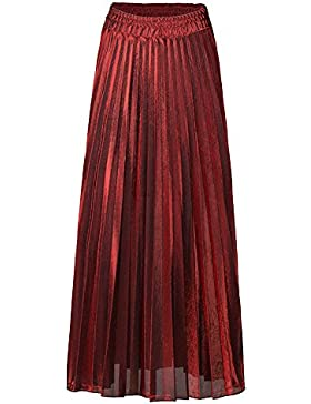 Quge Mujeres All Seasons Faldas Plisado De Longitud Completa Metálico Maxi Skirt