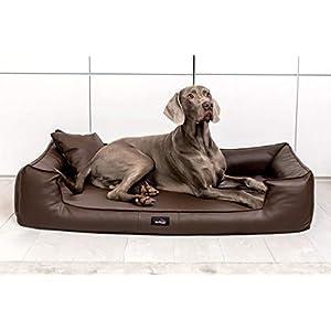 tierlando® G5-L-01 Orthopädisches Hundebett Goofy VISCO Anti-Haar Kunstleder Hundesofa Hundekorb Gr. XL 130cm Braun Ortho