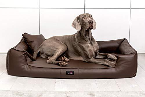 tierlando® G5-L-01 Orthopädisches Hundebett Goofy VISCO Anti-Haar Kunstleder Hundesofa Hundekorb Gr. XL 130cm Braun Ortho -