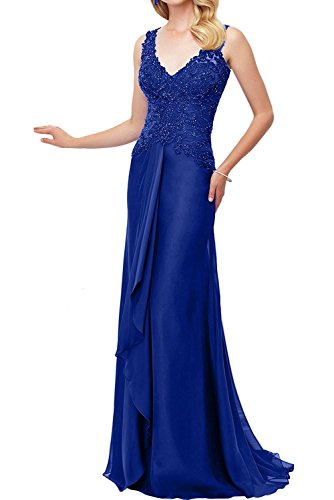 La_Marie Braut Weinrot Damen V-ausschnitt Spitze Abendkleider Brautmutterkleider Ballkleider chiffon Rock Lang Royal Blau