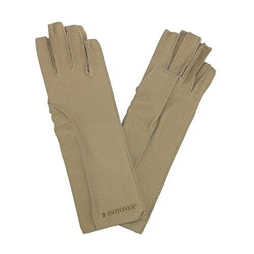 Isotoner Tote (totes ISOTONER Unisex Therapeutic Compression Fingerless Gloves, XS, Tan by Totes)