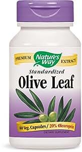 Nature's Way Olive Leaf Standardized 20% Oleuropein - 60 Vegetarian Capsules