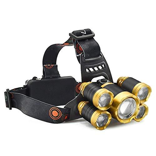 VSousT Stirnlampe Scheinwerfer 5 LED-Arbeitsscheinwerfer Reichweite bis 500M Scheinwerfer 4 Modi wiederaufladbare wasserdichte Taschenlampe