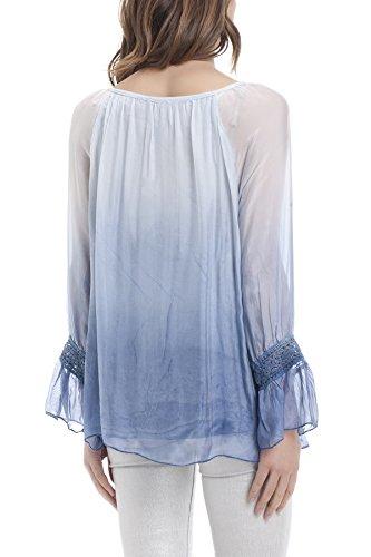 Laura Moretti - Blouse en soie avec encolure brodée et noeud papillon Bleu