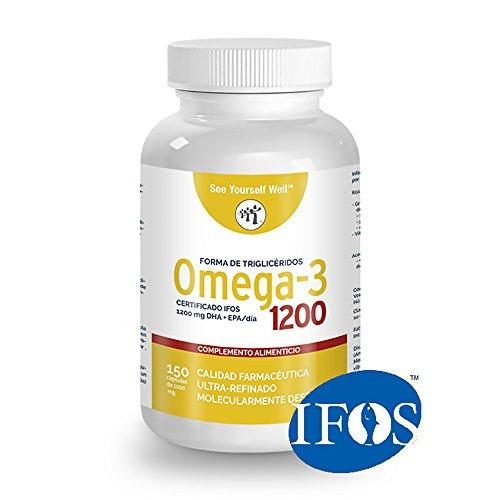 Omega 3 SYW (150 capsule di 1000mg). Certificato IFOS. Modulo di trigliceridi. Molto concentrato: 400 mg di EPA e 200 mg di DHA. Grado farmaceutico, ultra-raffinata, molecolarmente distillata.