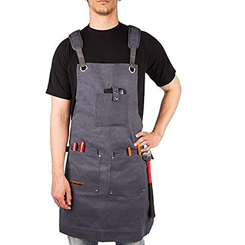 LKSDD Werkzeug-Schürze, Schürze Herren-Damenbekleidung, graue Leinwand-Schürze, Hardware-Unisex-Retro-Schürze mit Mehreren Taschen -