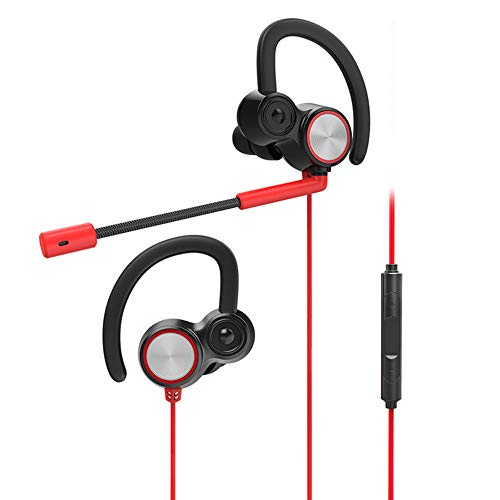LEENY® Gaming Kopfhörer mit Doppel-mikrofon, E-Sportspiel-Headset-In-Ear Ohrhörer, Earbuds Gaming Earphones für PS4, Xbox, PC, Laptop, Smartphone, Spiel Enthusiast Elektronisches Geschenk,Red