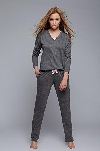 Sensis - Ensemble de pyjama - Manches Longues - Femme Graphit mit langarm Shirt