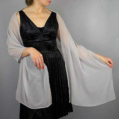 Stole donna chiffon scialli vestito da sposa nuziale poncho argento grigio