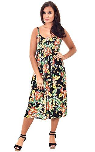 Desire Clothing Maxi robe d'été 3/4 tissu extensible Motif imprimé Animal Noir - Noir Floral