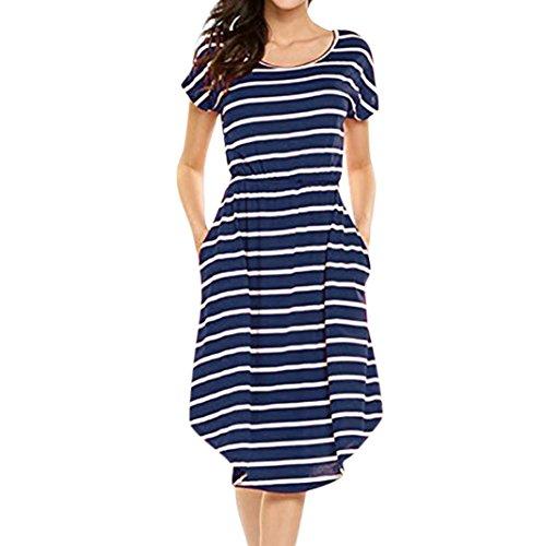 Damen Kleider Frauen Vintage Sommerkleider Solid Bowknot Halb Ärmel T-Shirt Kleid Lässig Frühling...