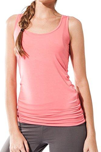 Sternitz Camiseta Fitness para mujer, Maya Top de, ideal para hacer pilates, yoga y cualquier deporte, tela de bambú, ecológica y suave. Sin mangas. (M, Rosado)