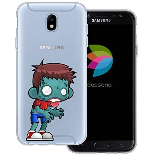 dessana Zombie Muster Transparente Schutzhülle Handy Case Cover Tasche für Samsung Galaxy J7 (2017) Comic Zombie