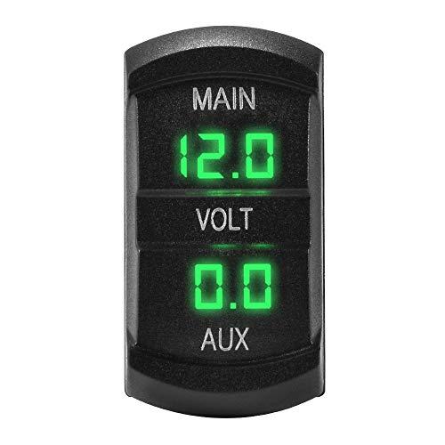 YuLinStyle 12-24 V Auto Dual Voltmeter 3-stellige Grüne Led-anzeige Spannungsmesser Batterie Monitor Mount Panel Stecker für Auto Marine Boot MA1746 Auto zubehör Motorradzubehör Panel-mount-voltmeter