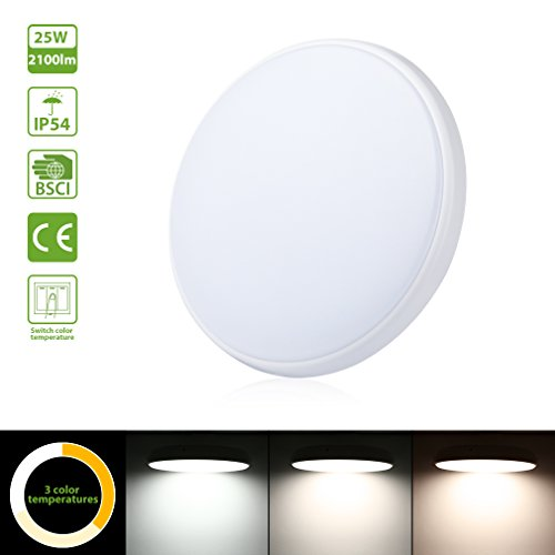 Oeegoo 25W LED Dimmbar Deckenleuchte IP54 Deckenlampe 2100LM -ersetzt 150 Watt Glühbirne Badleuchte Panel Für Wohnzimmer Flur Bad Küche Keller (Farbwechsel Mit Schalter: 3000K 4000K 5000K) φ30*4.2CM
