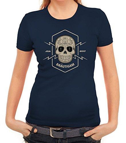 Junggesellenabschieds JGA Hochzeit Damen T-Shirt Skull Bräutigam Dunkelblau