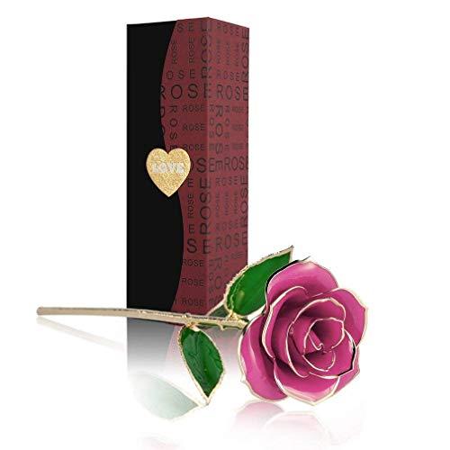 24K Gold Rose, Magicpeony Echte Rose mit Echtem Grünen Blatt - mit Geschenkbox und Ständer - Geschenk für Sie