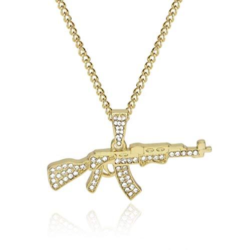 Retro AK47 Herren Halskette Gold Silber Männer Gewehr Kette (Gold) -