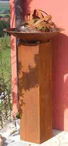 floristikvergleich.de Edelrost Dekosäule Bea mit Dekoschale 60 cm, Pfanzsäule von Rostikal