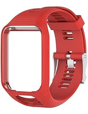 bovake Reemplazo Banda de silicona correa para TomTom Spark/3Deporte GPS reloj, rojo