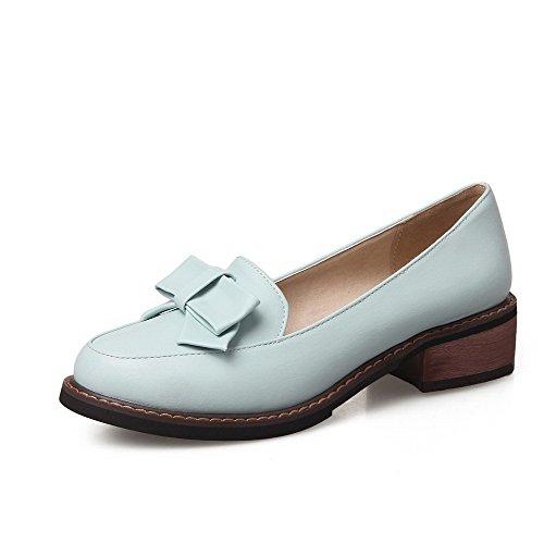 AgooLar Femme Rond à Talon Bas Matière Souple Couleur Unie Tire Chaussures Légeres Bleu