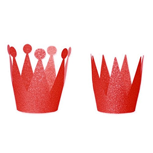 gshut Krone Hut Geburtstagskappe mit Pailletten Baby Kinder Jungen mädchen Geburtstagskrone Stirnband Hüte Party Festival Kopfschmuck Dekoration Rot (Cupcake Mädchen Kostüme Für Kinder)